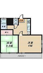 山洋宿院ハイツ[3階]の間取り