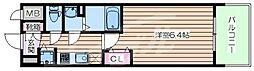 JR大阪環状線 京橋駅 徒歩1分の賃貸マンション 7階1Kの間取り