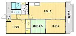 大阪府八尾市南小阪合町5丁目の賃貸マンションの間取り