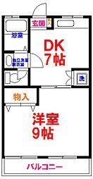 コーポ内野 2階1DKの間取り