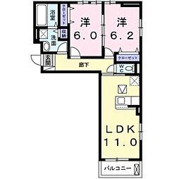 シャルール メゾン II 1階2LDKの間取り