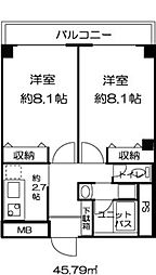 東京都板橋区東新町1丁目の賃貸マンションの間取り