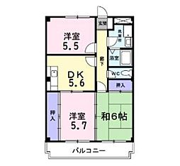 神奈川県相模原市中央区上溝の賃貸マンションの間取り