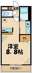 JR相模線 原当麻駅 徒歩1分の賃貸マンション 3階1Kの間取り