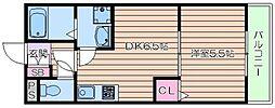 仮)森小路新築ハイツ 2階1DKの間取り