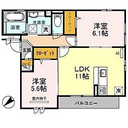 南海線 泉大津駅 徒歩14分の賃貸アパート 3階2LDKの間取り