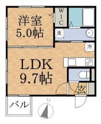 Lucia南12 1階1LDKの間取り