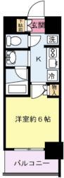 ハーモニーレジデンス武蔵小杉 3階1Kの間取り