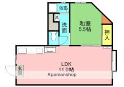 JR片町線(学研都市線) 徳庵駅 徒歩2分の賃貸マンション 2階1LDKの間取り