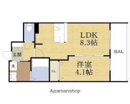 スワンズシティ大阪城ノース 10階1LDKの間取り