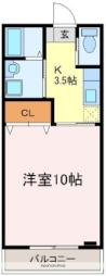 JR宇部線 東新川駅 徒歩3分の賃貸マンション 2階1Kの間取り