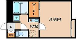 兵庫県神戸市兵庫区上祇園町の賃貸アパートの間取り