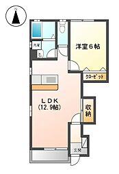 愛知県名古屋市北区東味鋺3丁目の賃貸アパートの間取り
