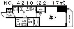ラシュレエグゼ天王寺[12階]の間取り