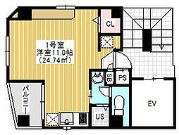 N&C浅草 4階1Kの間取り