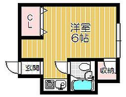京阪本線 土居駅 徒歩4分の賃貸マンション 4階ワンルームの間取り