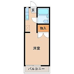スカイエンジュA棟 2階ワンルームの間取り