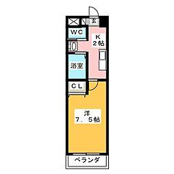 A-City中川法華 2階1Kの間取り
