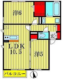 リバレインI・II[2階]の間取り