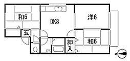 広島県広島市安佐北区亀山6丁目の賃貸アパートの間取り