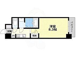 近鉄南大阪線 北田辺駅 徒歩7分の賃貸マンション 10階1Kの間取り