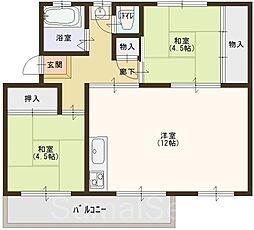 下野池第二住宅七棟[4階]の間取り