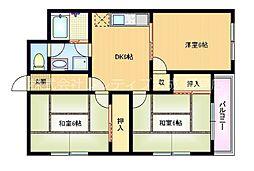 Osaka Metro谷町線 野江内代駅 徒歩9分の賃貸マンション 5階3DKの間取り