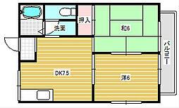 大阪府茨木市上穂積3丁目の賃貸アパートの間取り