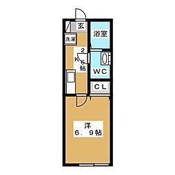 六ッ川新築アパート 1階1Kの間取り