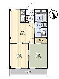 ニューエクセル三宅 D[1階]の間取り