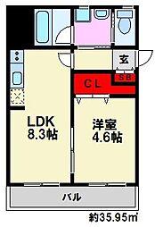 J-PLACE大橋南[2階]の間取り