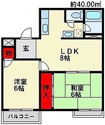 福岡県大野城市瓦田1丁目の賃貸アパートの間取り