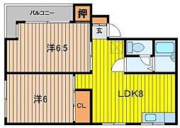 下ノ原コーポ[4階]の間取り
