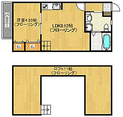 福岡県福岡市早良区西新1丁目の賃貸アパートの間取り