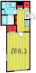 東京メトロ有楽町線 千川駅 徒歩7分の賃貸マンション 3階1Kの間取り