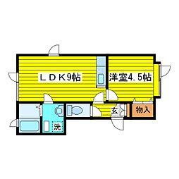 北海道札幌市東区北二十二条東13丁目の賃貸アパートの間取り