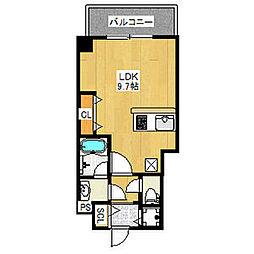 ブランTAT西宮II 5階ワンルームの間取り