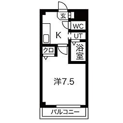 JR東海道本線 清洲駅 徒歩5分の賃貸マンション 2階1Kの間取り