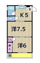渡辺ハイツ[303号室]の間取り