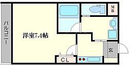 AILE京橋 2階1Kの間取り