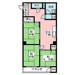 プロス福岡[4階]の間取り