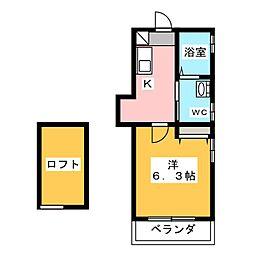 Abete横浜B 3階1Kの間取り