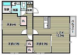 ラ・セーベ1[2階]の間取り