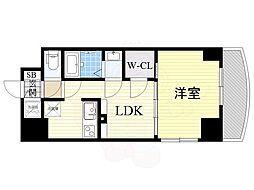 Osaka Metro御堂筋線 新大阪駅 徒歩5分の賃貸マンション 24階1LDKの間取り