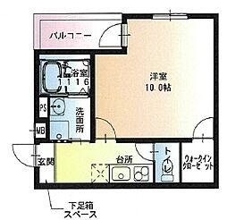 フジパレス若江岩田ノース 1階1Kの間取り