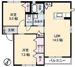 広島県呉市東辰川町の賃貸アパートの間取り