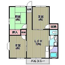 メゾン津々山台 B棟[2階]の間取り