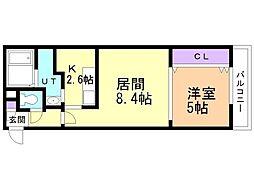 札幌市営東西線 発寒南駅 徒歩8分の賃貸マンション 1階1LDKの間取り