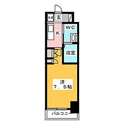AZESTお花茶屋II 2階1Kの間取り