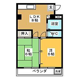 ベルヴイハウス 1階2LDKの間取り